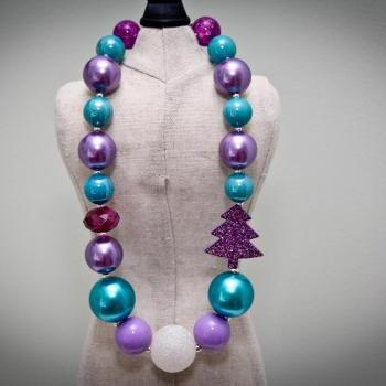 Purple & Teal Holiday Chunky Toddler Necklace