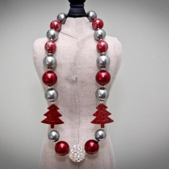 Red & Silver Holiday Chunky Toddler Necklace